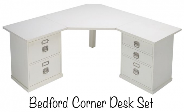 Office desk with drawers Glass Top Pottery Barn Bedford Corner Desk Set photo Source Pretty Neat Living Home Office Desk Drawer Organization Pretty Neat Living