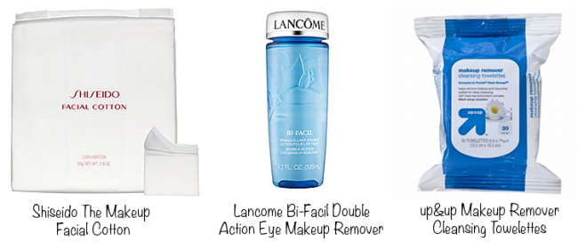 Shiseido The Makeup Facial Cotton (photo source), Lancome Bi-Facil Double Action Eye Makeup Remover (photo source), up&up Makeup Removing Cleaning Wipes (photo source)