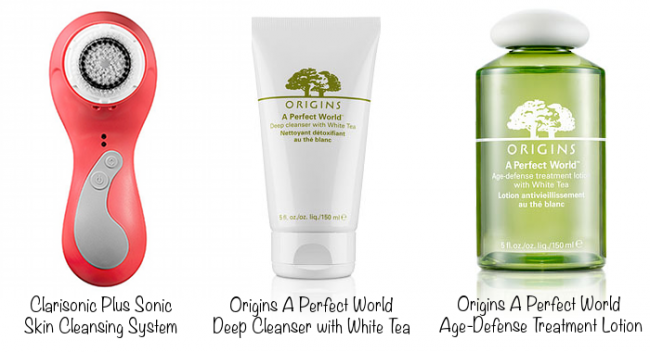 Clarisonic Plus Sonic Skin Cleansing System (photo source), Origins A Perfect World Deep Cleanser with White Tea (photo source), Origins A Perfect World Age-Defense Treatment Lotion (photo source)