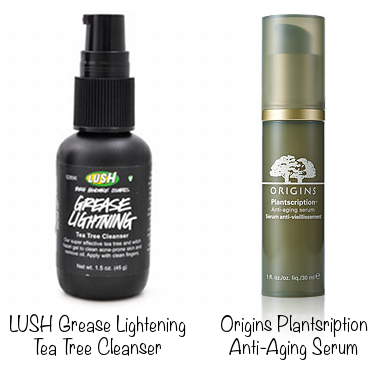 Lush Grease Lightning Tea Tree Cleanser (photo source) & Origins Plantscription Anti-Aging Serum (photo source)