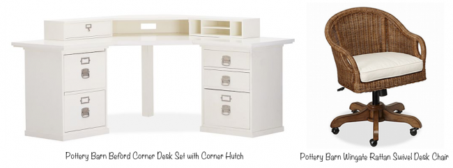 Pottery Barn Bedford Corner Desk Set with Corner Hutch (photo source) & Pottery Barn
