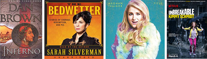 Multi Media Favorites April 2015 Bedwetter, Meghan Trailor, Dan Brown, Inforno, The Unbreakable Kimmy Schmidt