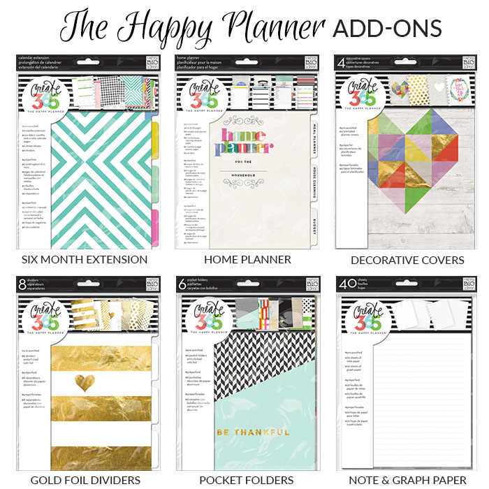 happy planner add-ons 2015
